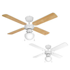 Modern White Ceiling Fan with Light & Reversible Blades - Beech Effect or White