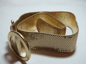 Stunning Whiting & Davis Wide Mesh Metallic Gold Leather Belt Fits 29-34 inches