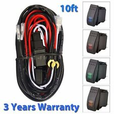 10ft Wiring Harness Kit 40A 12V ON/OFF +Switch +Relay For 2 LED Work Light Bar