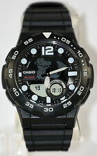 Casio AEQ-100W-1AV Mens Black 100M World Time Digital/ Analog Sports Watch New