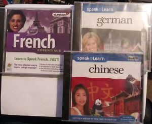 Speak and Learn CHINESE FRENCH GERMAN FAST CD-ROM 3 DISC BRAND NEW SEALED SPEECH