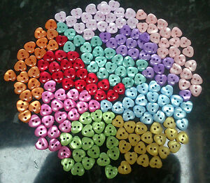 20 x Resin Small Heart Buttons 12mm x 11mm - 2 holes - various colours