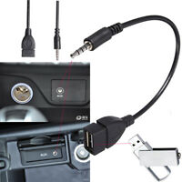 3.5mm Male Aux Audio Jack to USB 2.0 Female Converter Adapter Cable for Car MP3