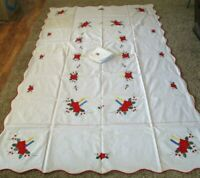 Vintage Christmas Tablecloth and Napkin Set Fabric 65x103  Applique Holiday