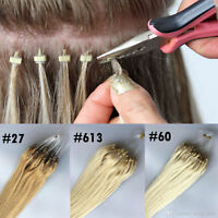 7A Grade Silicone Micro Ring Beads Loop Tip Real Remy Human Hair Extensions 1g/s