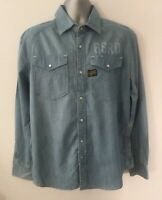 G STAR Raw ARIZONA PRESTON Shirt ~ Size XL ~ Blue Denim Cotton Casual Men L/S