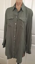 NWT COTTON ON Women's OVERSIZED Button Down SHIRT DRESS Olive Green sz XS S M