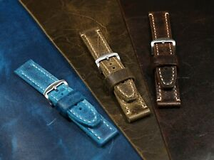 Watch band leather 20-26mm Mens thick soft watch band Vintage leather Crazy Cow