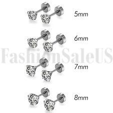 8pcs Mens Ladies White Cubic Zirconia Stud Earrings Stainless Steel Screw Back