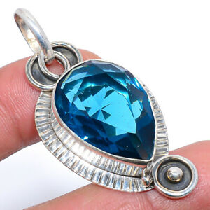"""Madagascar Blue Sapphire Oxidize 925 Sterling Silver Jewelry Pendant 2.05"""" S1988"""