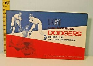 1961 Los Angeles Dodgers & California Angels Roster Schedule #CA