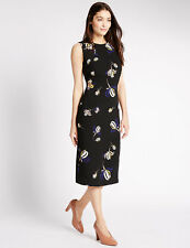 BNWT M&S Collection Black Floral Print Sleeveless Body Con Dress Size 10