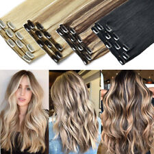CLEARANCE THICK Clip In 100% Real Remy Human Hair Extensions Full Head Highlight