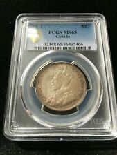 **1931** PCGS Graded Canadian Silver 50 Cent, **MS-65**