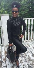 New designer Sold out Bebe mesh ruffled black leather moto jacket coat S 0-4