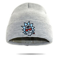 Rick And Morty Hat Embroidered Winter Knitted Beanie Skull Cap Skully ( Gray )