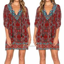 Womens Bohemian Summer Dress Vintage Floral Print Style Shift Dress Beach Blouse