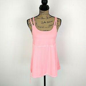 Champion Womens sz XL Top Solid Pink Sleeveless Racer Back Scoop Neck Peplum