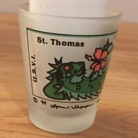 US Virgin Islands frosted shot glass w/Dragon Lizard St. Thomas, Croix, Martin