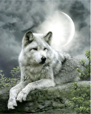 """Counted Cross Stitch Kit """"Moonlight Wolf"""" by Andrea's Designs"""