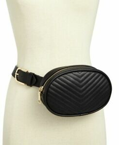 STEVE MADDEN chevron quilted faux leather women's belt bag/fanny pack -Black- 2X