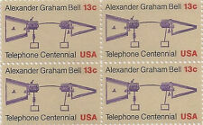 US 1683 Telephone Centennial 13c block MNH 1976