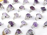 10Pcs Wholesale Lots Unisex Amethyst Gemstone Stone Silver Plated Rings 17-20mm
