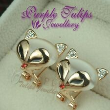 18CT Rose Gold Plated Fox French Clip Stud Earrings Made With SWAROVSKI  Crystal
