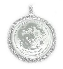 Sterling Silver 2012 1/2 oz Lunar Dragon Rope Coin Bezel Coin Pendant