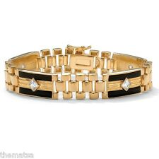 "MENS 14K GOLD ONYX 8"" PANTHER LINK GP BRACELET FREE WORLDWIDE SHIPPING"