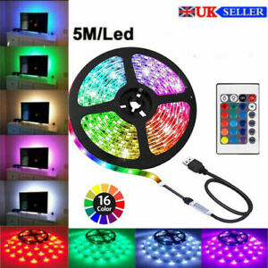 LED Strip Light TV Backlight 5050 USB RGB Home Decor Colour Chang Remote Control