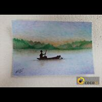 Post Card Size Original Ballpoint Pen Hand Painting Sri Lanka lake landscapes