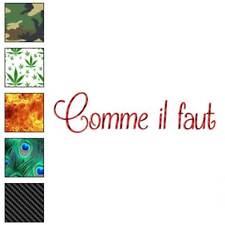 Comme Il Faut French Decal Sticker Choose Pattern + Size #3745