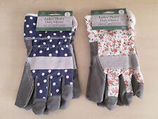 Ladies Heavy Duty Grey Gardening Gloves Thorn Resistant Blue Polka Dot, Floral