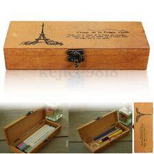 Plumier Boîte Pochette écritoire en Bois à Crayons Stylos Clé Brosse Monnaie