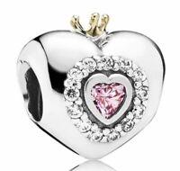 925 Sterling Silver 18k Gold Charm Princess Heart Bracelet By Pandora's Bliss