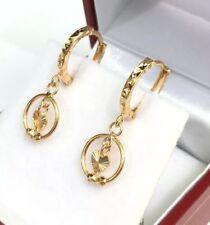 18k Solid Yellow Gold Cute Heart Dangle Hoop Earrings, Diamond Cut 1.60 Grams