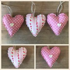 Set Of 3 Handmade Shabby Chic Hanging Hearts/ Padded Love Hearts
