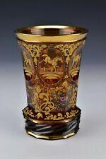 19th Century Bohemian Glass Spill Vase Engraved Horses and Enamel