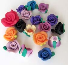 17Pcs Polymer Clay Rose Flower Beads Finding