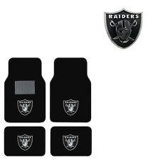 New 5pc NFL Oakland Raiders Car Truck Floor Mats & Chrome Emblem Set