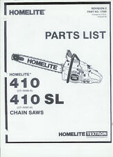 A Homelite (410 & 410 Sl) Chainsaw Parts List & Repair Dia. Copy