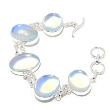 Christmas Sale Opalite Gemstone Sterling Silver Plated Adjustable Lock Bracelet