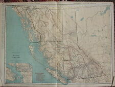 1922 LARGE AMERICA MAP BRITISH COLUMBIA RAILROAD VICTORIA VANCOUVER RAND MCNALLY