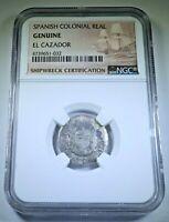 1750 El Cazador Shipwreck Silver 1 Reales NGC Genuine Antique 1700's Pirate Coin