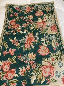"Vintage Floral Embroidered Crewel Work Chain Stitch Carpet Rug 32""x24"" Green"