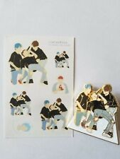 BTS JINTAEKOOK HK MOMENT Metal Enamel Pin w Sticker Sheet TAEHYUNG JUNGKOOK