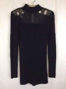 Ladies TOPSHOP X KATE MOSS BLACK FINE KNIT LADDER JUMPER DRESS SIZE 10
