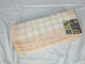NOS Pk of 10 Vtg Handy Helpers Waffle Weave Kitchen Dish Cloths Peach Revere