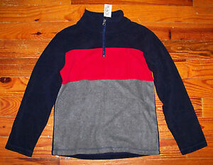 New! Boys THE CHILDREN'S PLACE Blue Gray Red Fleece Stripe PullOver Shirt 5 / 6